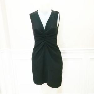 Halston Heritage black front gathered dress